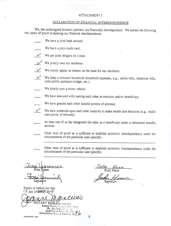 Declaration of Financial Independence for Domestic Partnership