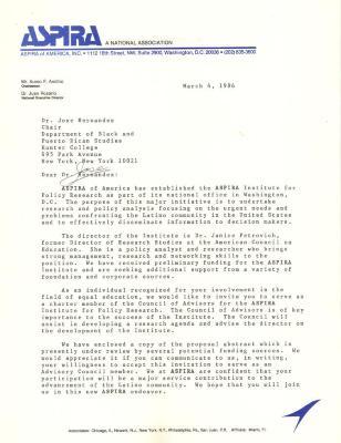 Correspondence to José Hernández Álvarez from ASPIRA