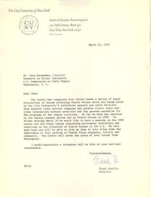 Correspondence to José Hernández Álvarez from Frank Bonilla