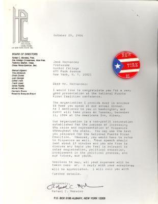 Correspondence to José Hernández Álvarez from Rafael C. Morales