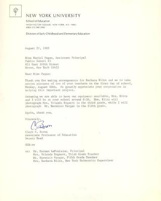 Correspondence to Muriel Pagán from New York University