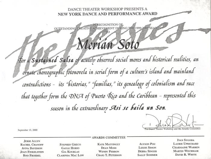 New York Dance and Performance Award to Merián Soto