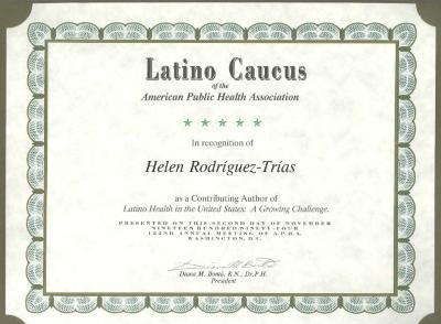 Latino Caucus of the American Public Health Association certificate