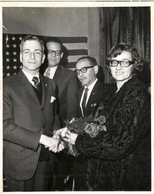 Diana Ramirez receiving flowers