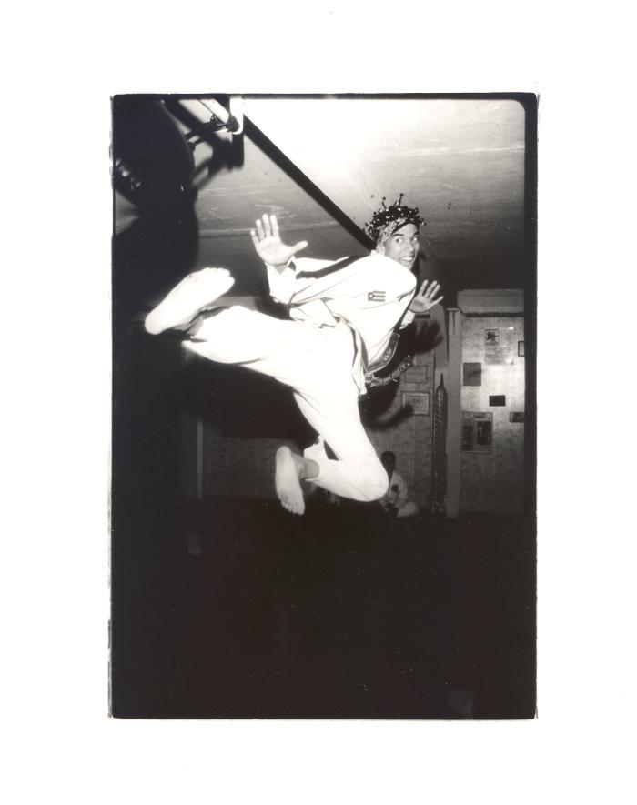 Martial artist performing a kick