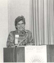 Helen Rodríguez-Trías at podium