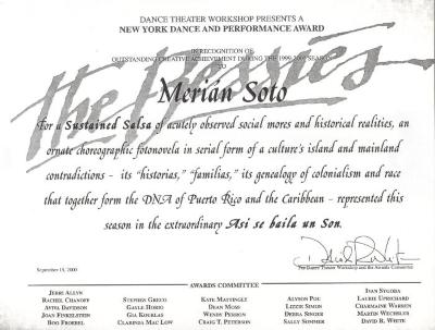 New York Dance and Performance Award to Merián Soto
