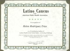Latino Caucus of the American Public Health Association certificate