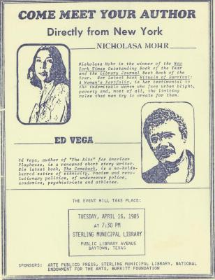 Edgardo Vega Yunqué and Nicholasa Mohr event