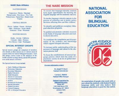National Association for Bilingual Education pamphlet