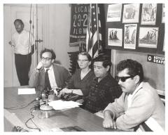 Cesar Chavez at a meeting with ILGWU