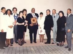 Benny Garcia with his award Premios Betances / Betances Awards