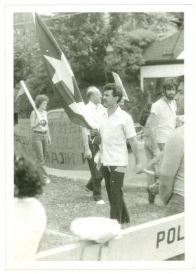 Man with Puerto Rican flag