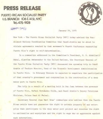 Puerto Rican Socialist Party - Press release