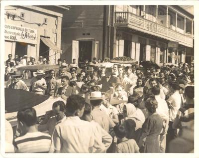 Pedro Albizu Campos amidst a demonstration