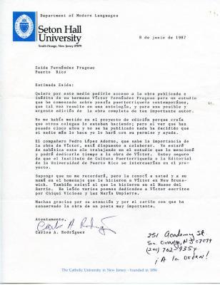 Letter to Zaida Fernandez Fragoso