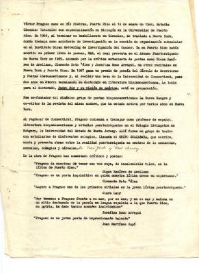 """""""Victor Fragoso nace en Rio Piedras..."""" / Victor Fragoso was born in Rio Piedras . . ."""
