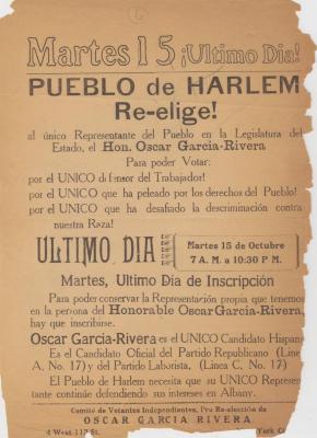 Pueblo de Harlem Re-elige! / Harlem Re-Choose!
