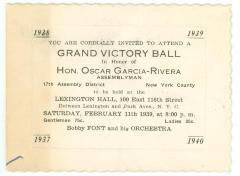 Invitation to Grand Victory Ball in Honor of Oscar García Rivera