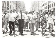 Herman Badillo, Olga Méndez, and Victor L. Robles at the Puerto Rican Day Parade