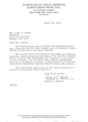 Correspondence to Hugh L. Carey from Robert L. Becker