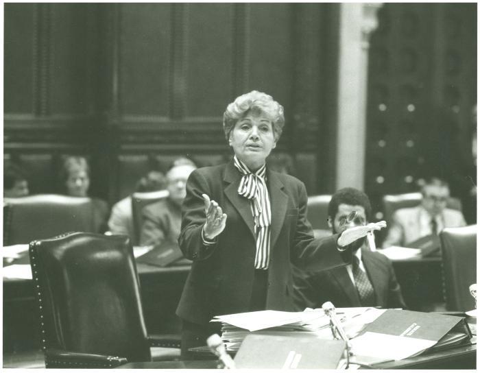 Olga Méndez in New York State Chamber debate in session