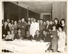Sofia Pérez at table with community organization