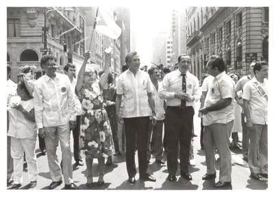 Olga Méndez and Herman Badillo at the Puerto Rican Day Parade