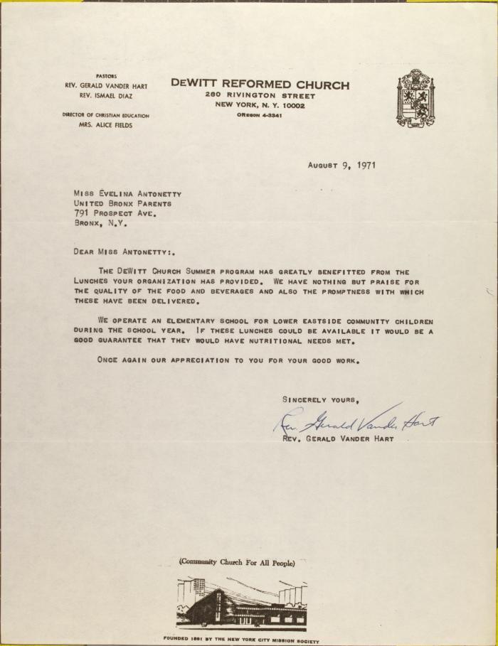Letter from Rev. Gerald Vander Hart.