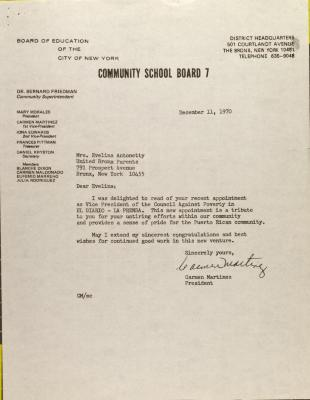 Letter from Carmen Martinez