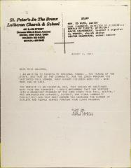Letter from St. Peter's in the Bronx