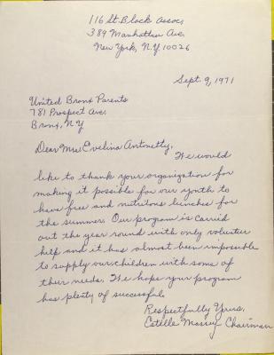 Letter from Estelle Massey