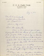 Letter from U.S.A. Cadet Corps