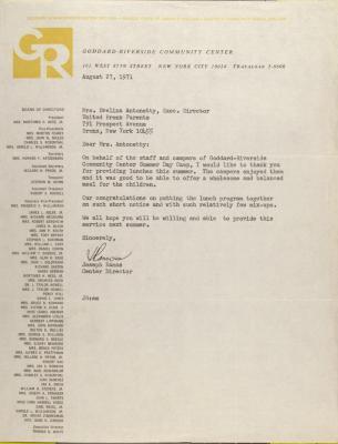 Letter from Joseph Ramos