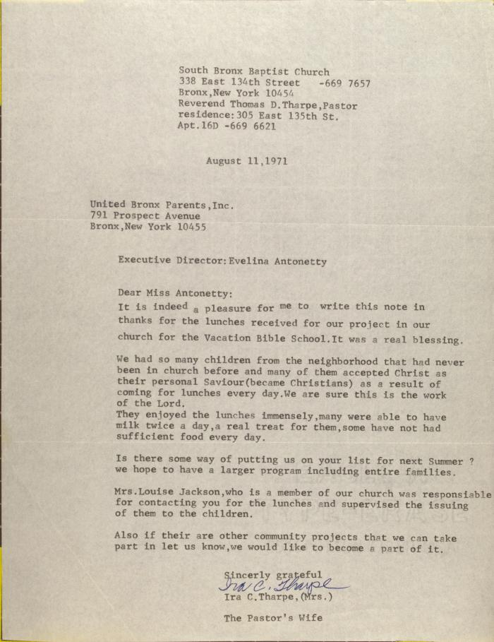 Letter from Mrs. Ira C. Tharpe
