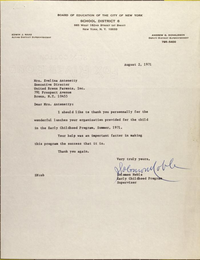 Letter from Solomon Noble