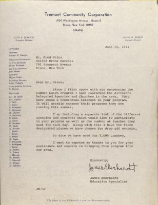Letter from James Eberhardt