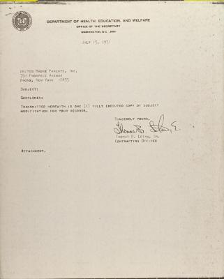 Contract from Department of Health, Education, and Welfare
