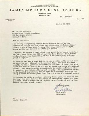 Letter from Frank Alweis
