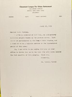 Letter to James Buckley from William Marold