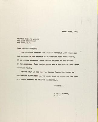 Letter to Jacob Javits from Alice Fields