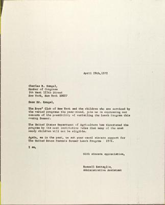 Letter to Charles Rangel from Russell Battaglia