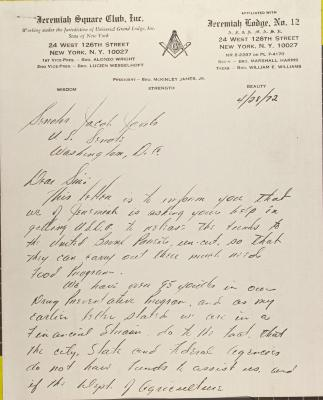 Letter to Jacob Javits from McKinley James