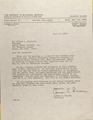Letter from Carmen Rivera