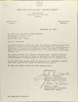 Letter from James Greenidge and Major Owens
