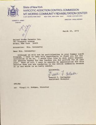Letter from Donald F. Callender