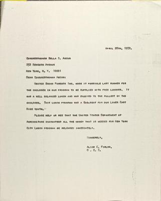Letter to Bella Abzug from Alice Fields