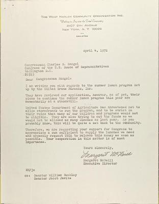 Letter to Charles Rangel from Margaret McNeill