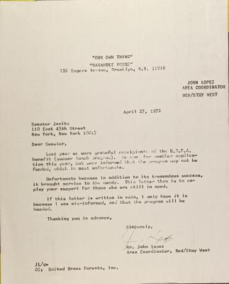 Letter to Jacob Javits from John Lopez