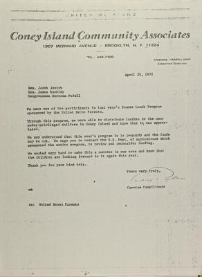 Letter from Carmine Pampillonio to Jacob Javits, James Buckley, and Bertram Podell.